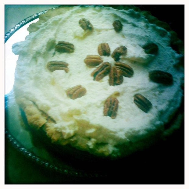 Sweet Potato Pie with Ginger Whipped Cream and Maple-Glazed Pecans