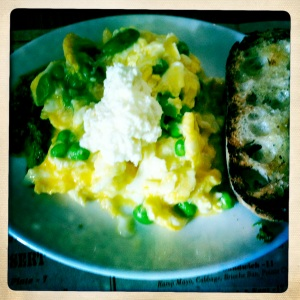 Soft Scrambled Eggs with Ramp Pesto, Peas, Favas, and Salvatore Ricotta